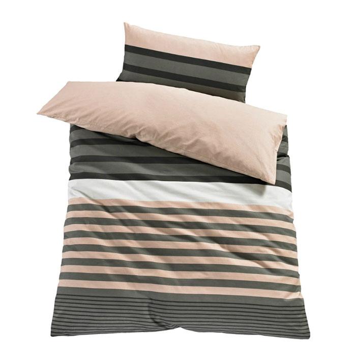 1 x bettw sche h i s majoran apricot 2 tlg mako satin k76 ebay. Black Bedroom Furniture Sets. Home Design Ideas